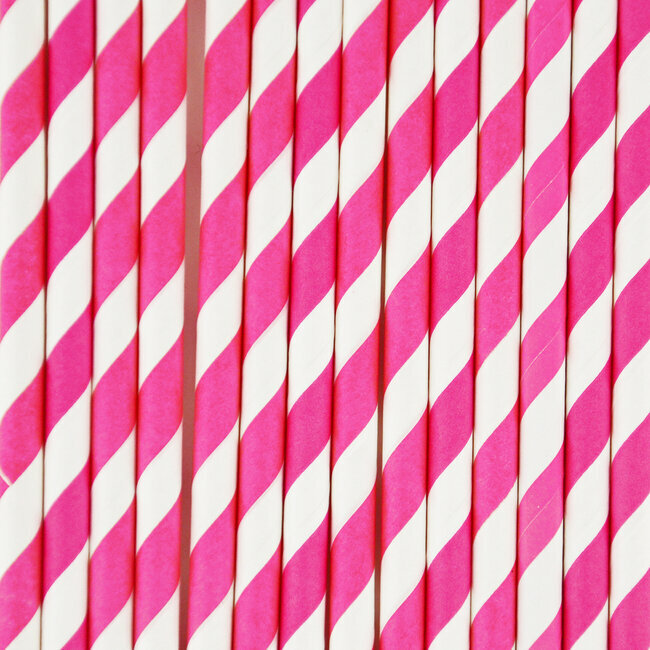 paper straws - bright pink stripes