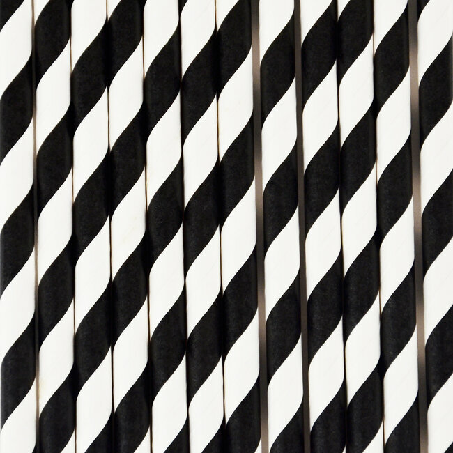 paper straws - black stripes