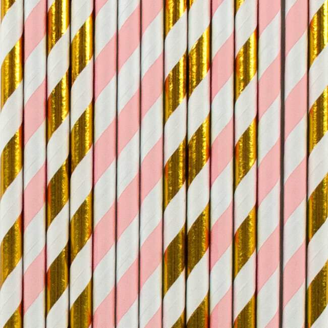paper straws - light pink and golden